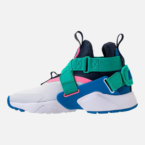 Left view of Little Kids' Nike Huarache City Casual Shoes in Pure Platinum/Blue Nebula/Obsidian