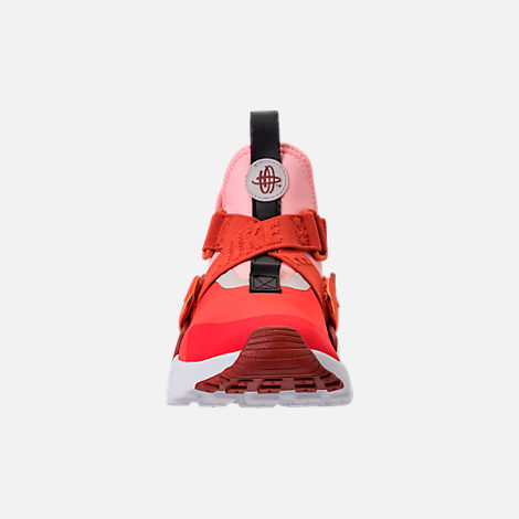 Front view of Kids' Preschool Nike Huarache City Casual Shoes in Habanero Red/Mars Stone/Bleached Coral