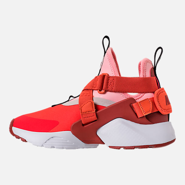 Left view of Kids' Preschool Nike Huarache City Casual Shoes in Habanero Red/Mars Stone/Bleached Coral