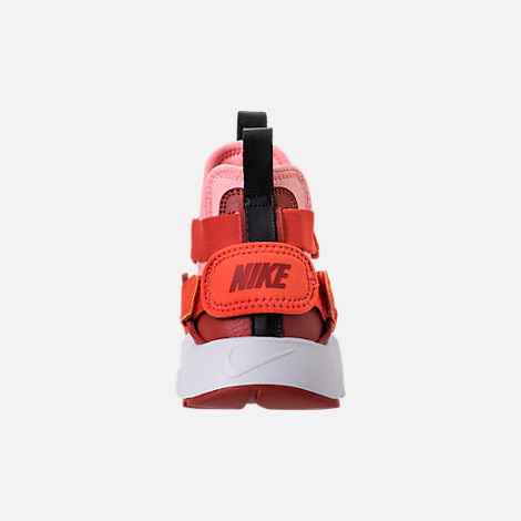 Back view of Kids' Preschool Nike Huarache City Casual Shoes in Habanero Red/Mars Stone/Bleached Coral