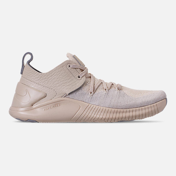Right view of Women's Nike Free TR Flyknit 3 Champagne Training Shoes in Light Cream/Sail/Platinum Tint