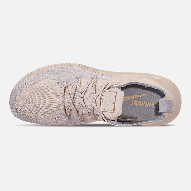 Top view of Women's Nike Free TR Flyknit 3 Champagne Training Shoes in Light Cream/Sail/Platinum Tint