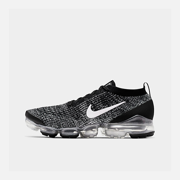 2d68bd5596a Right view of Men s Nike Air VaporMax Flyknit 3 Running Shoes in  Black White