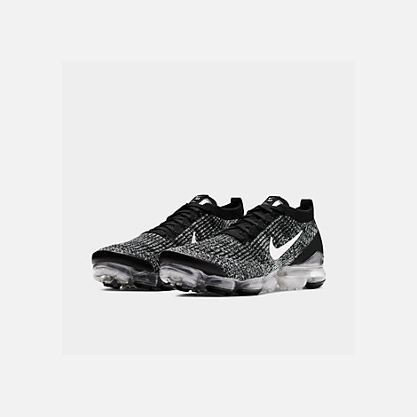 c4bc45f81e3eb Three Quarter view of Men s Nike Air VaporMax Flyknit 3 Running Shoes in  Black White