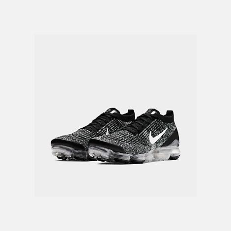 7505d2e54d23 Three Quarter view of Men s Nike Air VaporMax Flyknit 3 Running Shoes in  Black White