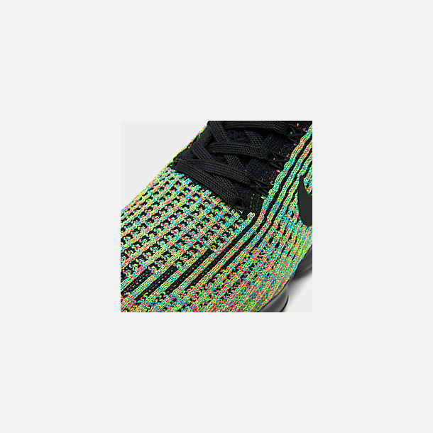 bfa47c362cb Front view of Men's Nike Air VaporMax Flyknit 3 Running Shoes in  Black/Black/