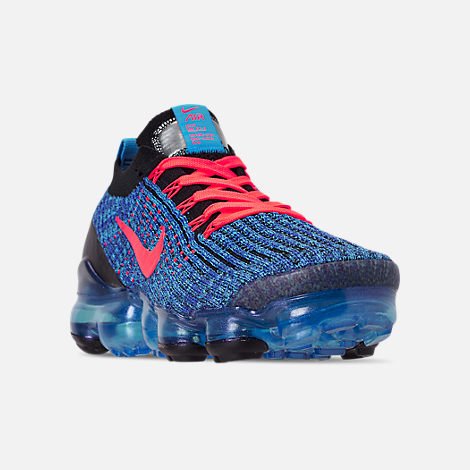 5537234d8c45 Three Quarter view of Men s Nike Air VaporMax Flyknit 3 Running Shoes in  Blue Fury