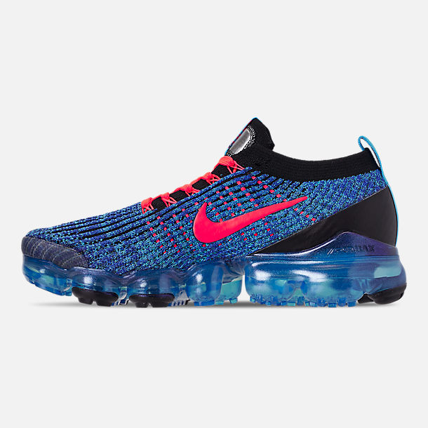 441d5dc19475 Left view of Men s Nike Air VaporMax Flyknit 3 Running Shoes in Blue Fury  Flash