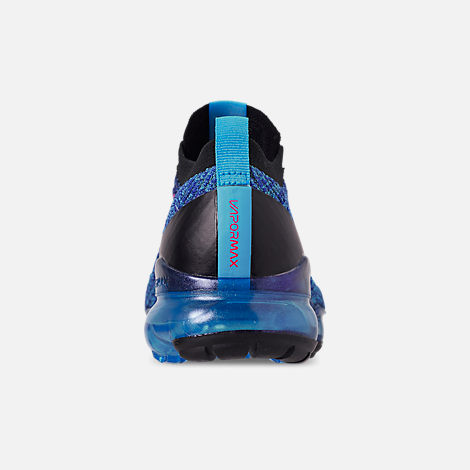 529220d110b7 Back view of Men s Nike Air VaporMax Flyknit 3 Running Shoes in Blue Fury  Flash
