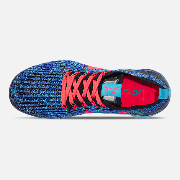 bd177def2977 Top view of Men s Nike Air VaporMax Flyknit 3 Running Shoes in Blue Fury  Flash