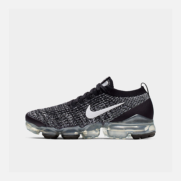 247c944bc6 Right view of Women's Nike Air VaporMax Flyknit 3 Running Shoes in  Black/White/