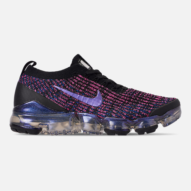 Right view of Women's Nike Air VaporMax Flyknit 3 Running Shoes in Black/Blue Lagoon/Laser Fuchsia