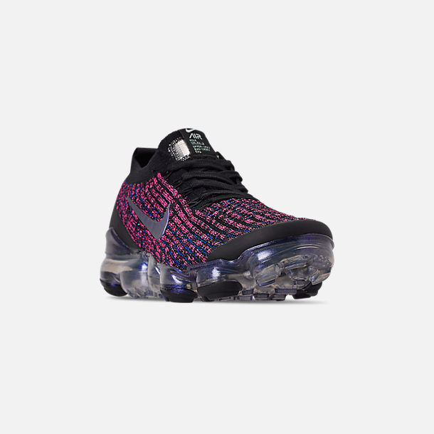 Three Quarter view of Women's Nike Air VaporMax Flyknit 3 Running Shoes in Black/Blue Lagoon/Laser Fuchsia