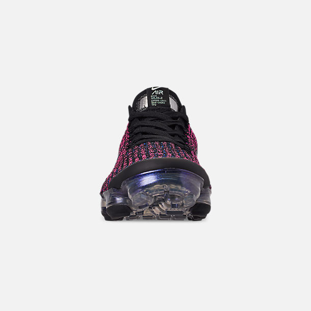 Front view of Women's Nike Air VaporMax Flyknit 3 Running Shoes in Black/Blue Lagoon/Laser Fuchsia
