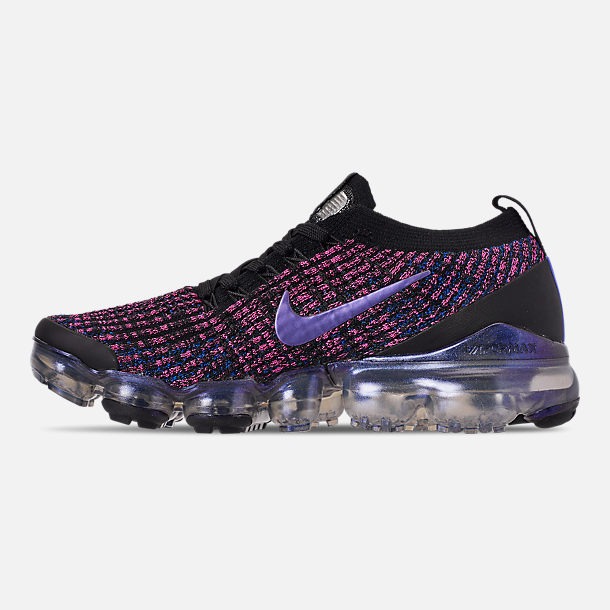 Left view of Women's Nike Air VaporMax Flyknit 3 Running Shoes in Black/Blue Lagoon/Laser Fuchsia