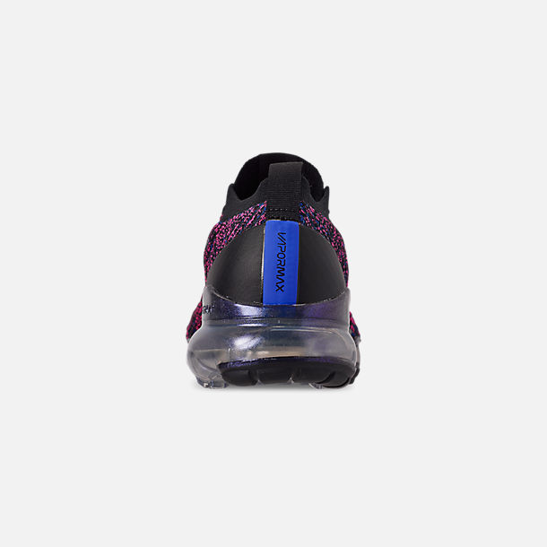 Back view of Women's Nike Air VaporMax Flyknit 3 Running Shoes in Black/Blue Lagoon/Laser Fuchsia