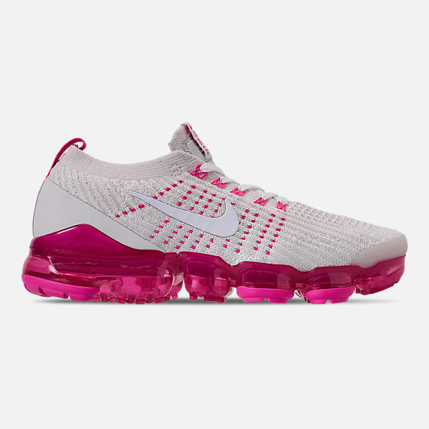 Right view of Women's Nike Air VaporMax Flyknit 3 Running Shoes in Phantom/White/Laser Fuchsia/Pink Rise