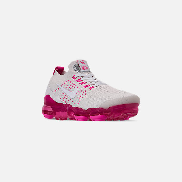Three Quarter view of Women's Nike Air VaporMax Flyknit 3 Running Shoes in Phantom/White/Laser Fuchsia/Pink Rise