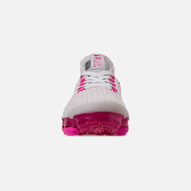 Front view of Women's Nike Air VaporMax Flyknit 3 Running Shoes in Phantom/White/Laser Fuchsia/Pink Rise