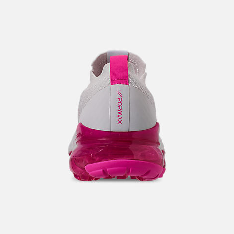Back view of Women's Nike Air VaporMax Flyknit 3 Running Shoes in Phantom/White/Laser Fuchsia/Pink Rise