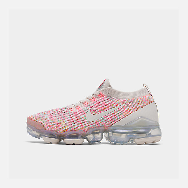 Right view of Women's Nike Air VaporMax Flyknit 3 Running Shoes in Phantom/Teal Tint/Sunset Pulse
