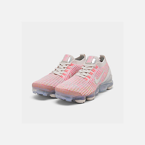 Three Quarter view of Women's Nike Air VaporMax Flyknit 3 Running Shoes in Phantom/Teal Tint/Sunset Pulse