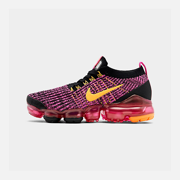 Right view of Women's Nike Air VaporMax Flyknit 3 Running Shoes in Laser Fuchsia/Laser Orange/Black