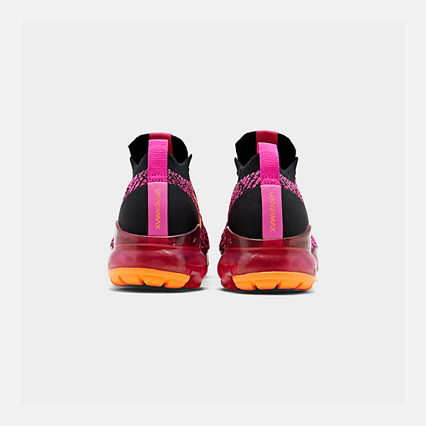 Left view of Women's Nike Air VaporMax Flyknit 3 Running Shoes in Laser Fuchsia/Laser Orange/Black