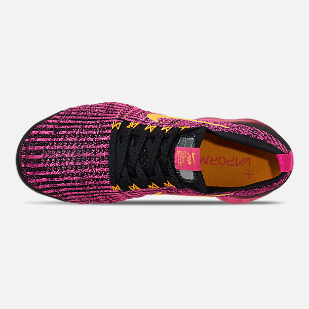 Top view of Women's Nike Air VaporMax Flyknit 3 Running Shoes in Laser Fuchsia/Laser Orange/Black