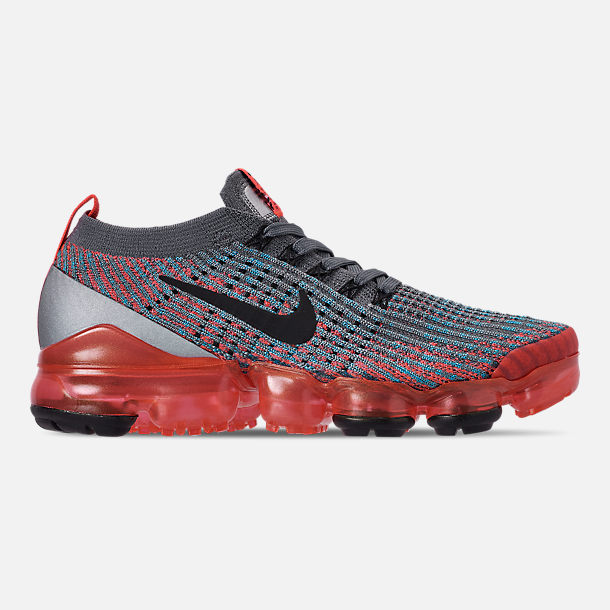 Right view of Women's Nike Air VaporMax Flyknit 3 Running Shoes in Flash Crimson/Black/Cool Grey/Blue Fury