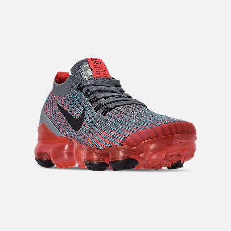 Three Quarter view of Women's Nike Air VaporMax Flyknit 3 Running Shoes in Flash Crimson/Black/Cool Grey/Blue Fury