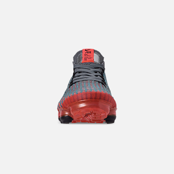 Front view of Women's Nike Air VaporMax Flyknit 3 Running Shoes in Flash Crimson/Black/Cool Grey/Blue Fury