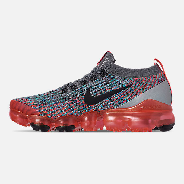 Left view of Women's Nike Air VaporMax Flyknit 3 Running Shoes in Flash Crimson/Black/Cool Grey/Blue Fury