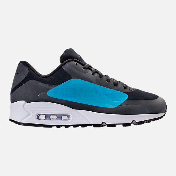 Right view of Men's Nike Air Max 90 NS GPX SP Casual Shoes in Black/Laser Blue/Heritage Cyan
