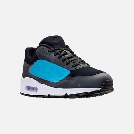 Three Quarter view of Men's Nike Air Max 90 NS GPX SP Casual Shoes in Black/Laser Blue/Heritage Cyan