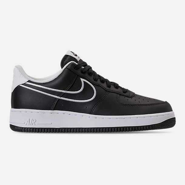 Right view of Men's Nike Air Force 1 '07 Leather Casual Shoes in Black/White
