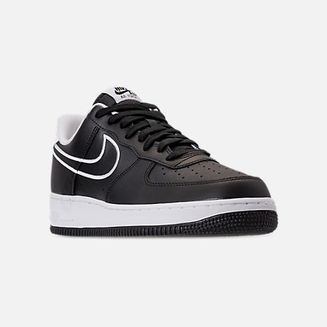 Three Quarter view of Men's Nike Air Force 1 '07 Leather Casual Shoes in Black/White