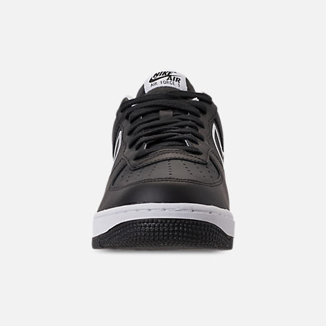 Front view of Men's Nike Air Force 1 '07 Leather Casual Shoes in Black/White