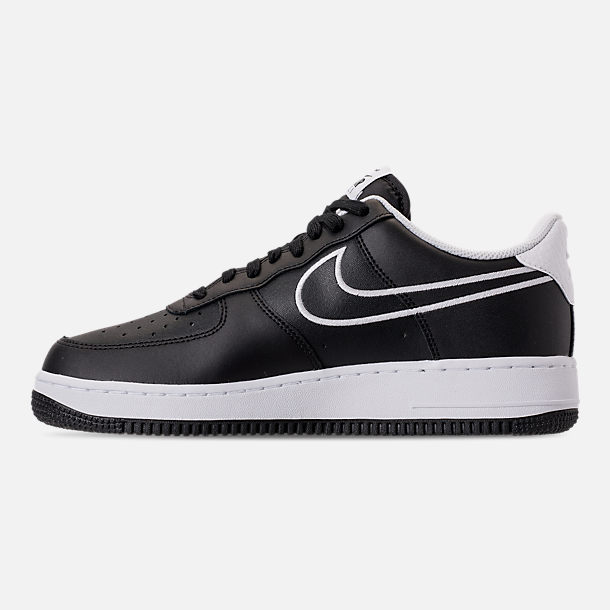 Left view of Men's Nike Air Force 1 '07 Leather Casual Shoes in Black/White