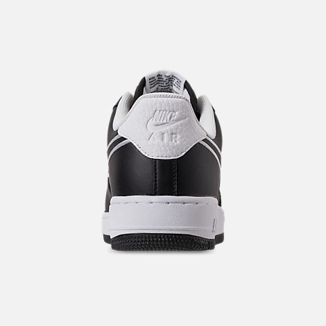 Back view of Men's Nike Air Force 1 '07 Leather Casual Shoes in Black/White
