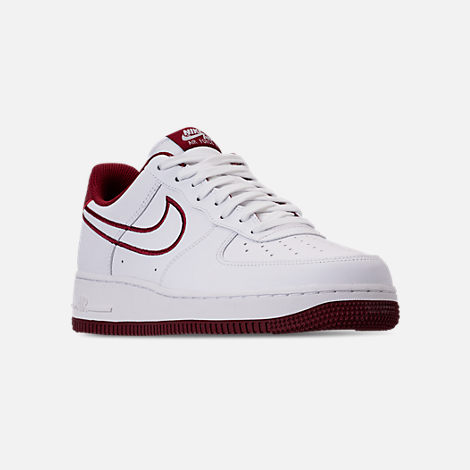 Three Quarter view of Men's Nike Air Force 1 '07 Leather Casual Shoes in White/Team Red