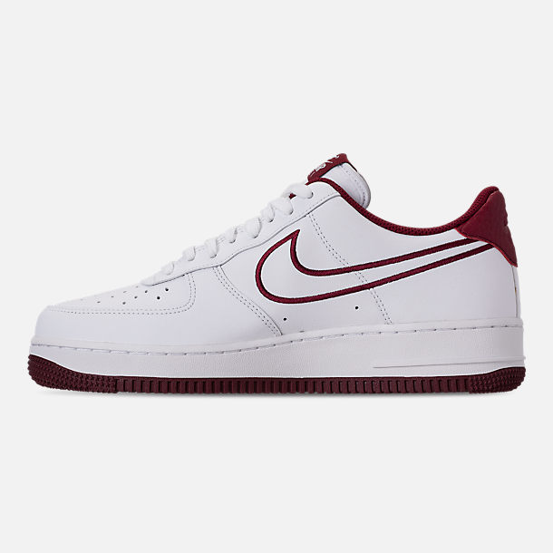 Left view of Men's Nike Air Force 1 '07 Leather Casual Shoes in White/Team Red