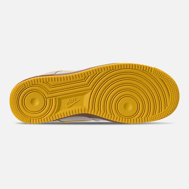 Bottom view of Men's Nike Air Force 1 '07 TXT Casual Shoes in Light Bone/Tour Yellow/Summit White