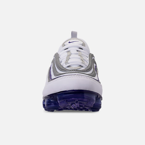 Front view of Men's Nike Air VaporMax '97 Running Shoes in White/Aqua/Varsity Purple