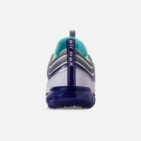 Back view of Men's Nike Air VaporMax '97 Running Shoes in White/Aqua/Varsity Purple