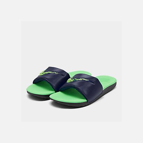 c35e21dc56e5c0 Three Quarter view of Boys  Big Kids  Nike Kawa SE Slide Sandals in Blue