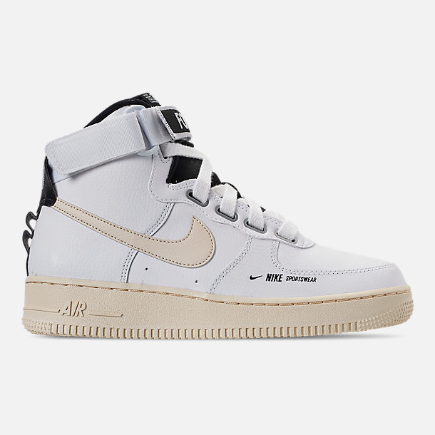 Right view of Women's Nike Air Force 1 High Utility Casual Shoes in White/Light Cream/Black/White