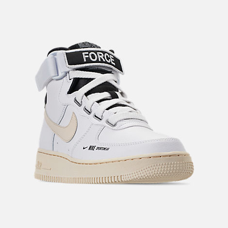 Three Quarter view of Women's Nike Air Force 1 High Utility Casual Shoes in White/Light Cream/Black/White