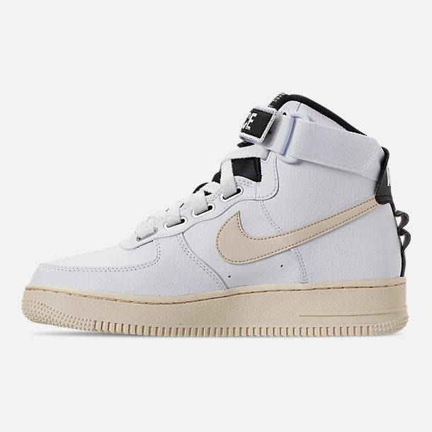 Left view of Women's Nike Air Force 1 High Utility Casual Shoes in White/Light Cream/Black/White