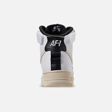 Back view of Women's Nike Air Force 1 High Utility Casual Shoes in White/Light Cream/Black/White